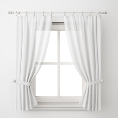 vintage white window frame with curtain