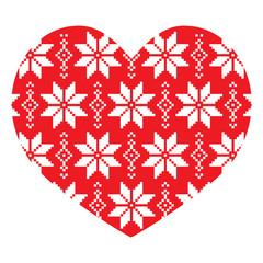Nordic, winter red heart pattern