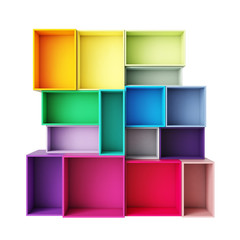 empty abstract colorful shelves isolated on white background