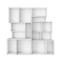 empty abstract white shelves isolated on white background