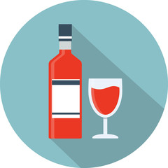 Vector wine bottle and glass icon