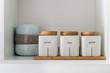 sugar tea and coffee bowl in pantry shelf - 69991732