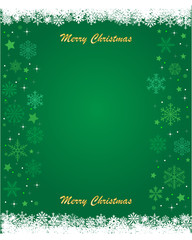Snowflakes postcard with green background