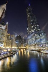 Chicago downtown by night, Illinois