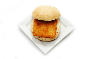 Breaded Fish Sandwich with a Sesame Bun