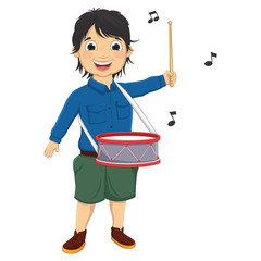 Vector Illustration Of A Little Boy Playing Drum