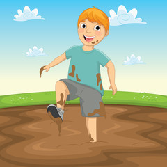 Vector Illustration Of A Kid Playing in the Mud