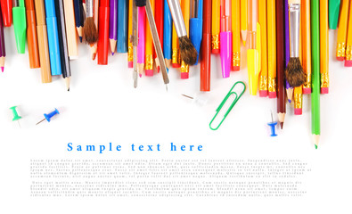 School tools and accessories on a white background.