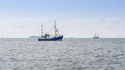 Fishing boats trawling