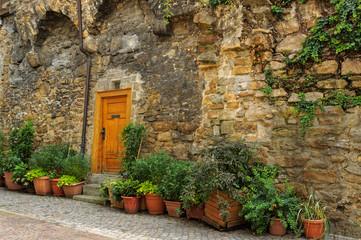 Eingangstür zu einem alten Wohnhaus
