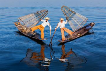 Burmese fishermen at Inle lake, Myanmar