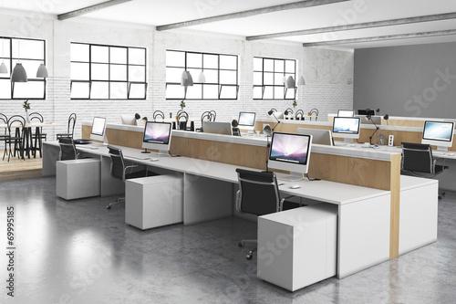 Staande foto Industrial geb. modernes Großraumbüro