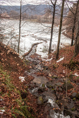 River in forest flowing in a mountain lake  winter landscape