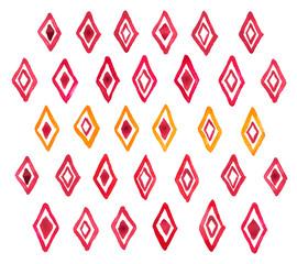 Hand draw aquarelle watercolor art paint red rhombus geometric
