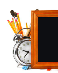 Framework and school tools. On white background.