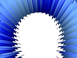 Abstraktes, blaues Objekt - nach hinten verjüngend