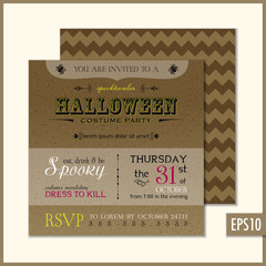 Halloween Invitation Square Cardboard