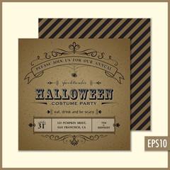Cardboard Halloween Invitation Square