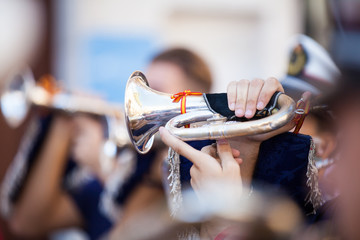 Detail of cornet being played during concert. Close up.
