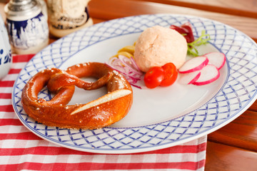 bavarian pretzels with meat pate