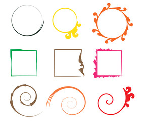 Set of shapes for the frame of colorful brush strokes.