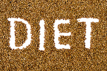 background from buckwheat with an inscription a diet