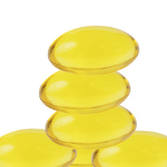 Cod liver oil omega 3 gel capsules isolated with white backgroun