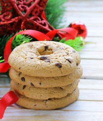cookies with chocolate and Christmas tree branches