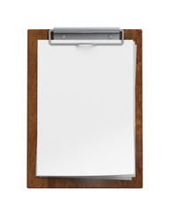 blank wooden clipboard isolated on white