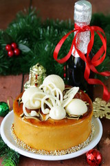 festive Christmas cake caramel biscuit with white chocolate