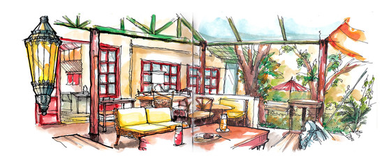 coffee house garden illustration
