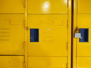 Yellow student lockers active usage