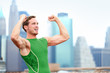 Winning cheering celebrating athlete runner