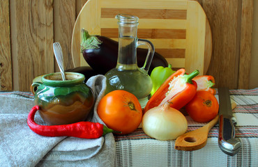 Ripe vegetables for cooking recipe.