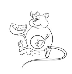 fat mouse with cheese, vector illustration