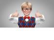 Blonder Junge mit Werbefläche