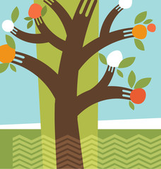 abstract fruit tree forks illustration collage