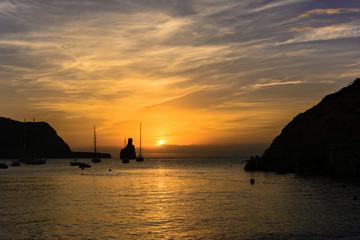 Ibiza island sunset sihouettes