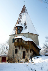 Old tower from Sighisoara in winter