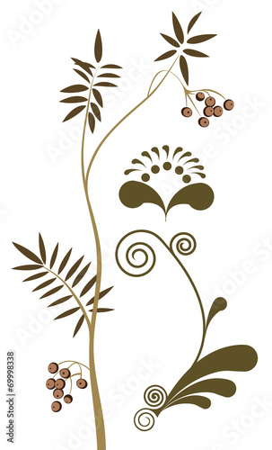 Naklejka Plant elements of the pattern