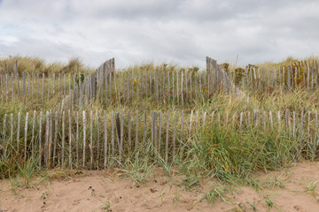Dunes behind a fence