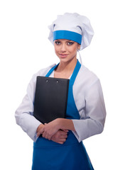 girl in chef uniforms