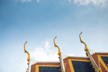 Roof top of temple in Bangkok, Thailand