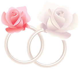 Wedding rings and roses