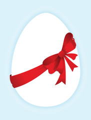 Egg with a red bow