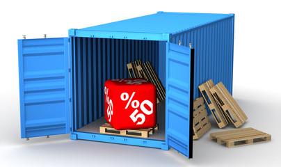 Скидка 50 процентов в открытом грузовом контейнере
