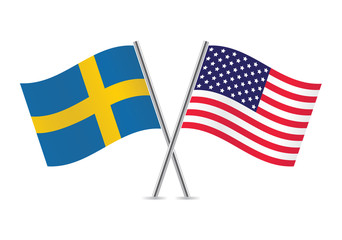 American and Swedish flags. Vector illustration.