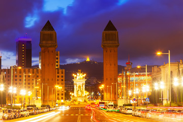 Night view of Plaza de Espana with Venetian towers