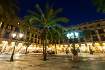 Placa Reial in  evening. Barcelona