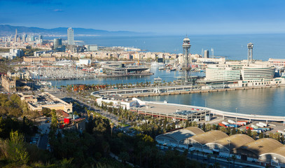 Port  of Barcelona from Montjuic